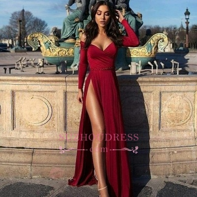 2020 Off The Shoulder Long Sleeves Prom Dresses Cheap | A-Line Slit Elegant Evening Dresses_3
