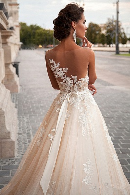 2020 A-line Light Champagne Wedding Dresses Lace Sheer Tulle Stunning Bridal Gowns BA3192_3