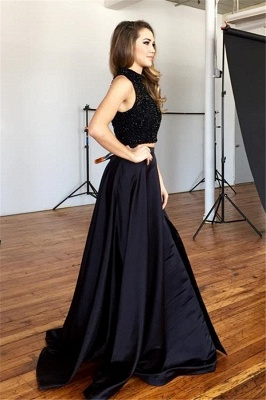 New Arrival Black Two Pieces Prom Dress with Beadings Elegant Sweep Train Evening Gown JT102_4