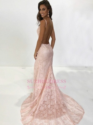 New Arrival Mermaid Spaghetti-Straps Sleeveless Prom Dresses   Lace Appliques Backless Sweep Train Prom Gown_1