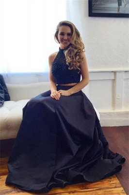 New Arrival Black Two Pieces Prom Dress with Beadings Elegant Sweep Train Evening Gown JT102_6