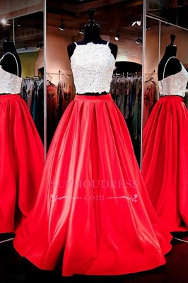 Lace A-Line Two-Piece Glamorous Prom Dress_3