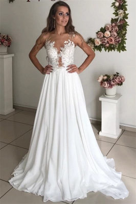 Strapless Sheer Tulle Chiffon Wedding Dresses | Appliques A-line Cheap Bridal Dresses_1