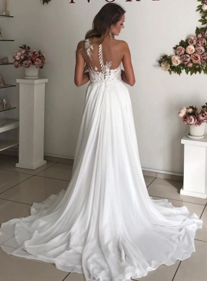 Strapless Sheer Tulle Chiffon Wedding Dresses | Appliques A-line Cheap Bridal Dresses_2