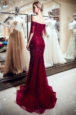 Sparkly Red Crystal Off Shoulder Evening Dresses | 2020 Mermaid Evening Gowns with Tassels_4