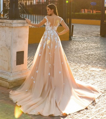 Modern Tulle Overskirt Court Train Mermaid Lace Champagne Wedding Dresses for Bride Online_3
