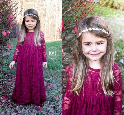 Lace Flower Sleeves Cute Fuchsia Girls Pageant Dresses_1