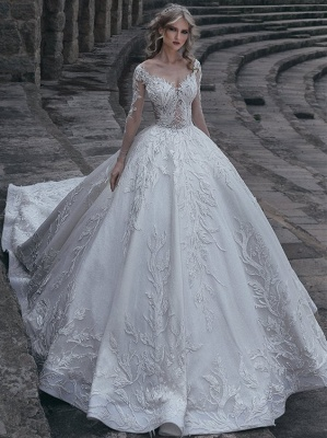 Elegant Long Sleeves Ball Wedding Dresses | 2020 Lace Sexy Bridal Gowns_1