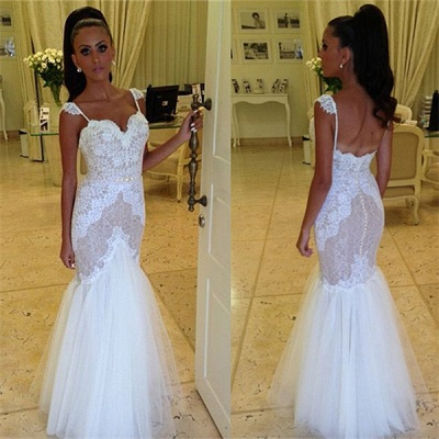 Straps Sweetheart Wedding Dress Cheap Mermaid Lace Tulle Backless Wedding Gowns 2020_3