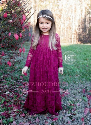 Lace Flower Sleeves Cute Fuchsia Girls Pageant Dresses_2