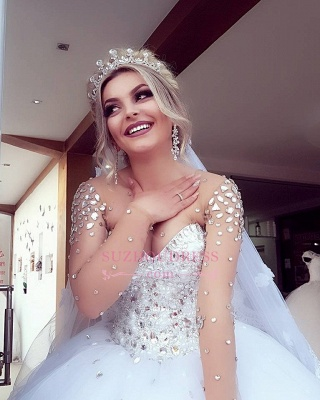 Brilliant Ball-Gown Wedding Dresses   Crystals Jewel Long-Sleeves Bridal Gowns_3