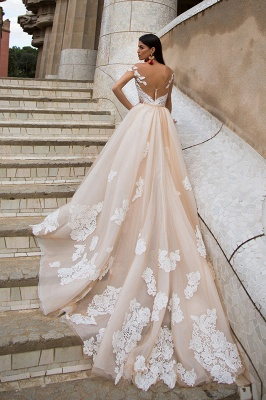 Sexy Off The Shoulder Champagne Wedding Dresses | Detachable Tulle Overskirt Train Lace Bridal Gowns_2