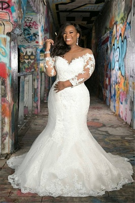 Off The Shoulder Cheap Appliques Wedding Dresses | Sheer Tulle Plus Size Memaid Bridal Gowns_1