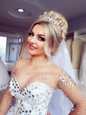 Brilliant Ball-Gown Wedding Dresses   Crystals Jewel Long-Sleeves Bridal Gowns_5