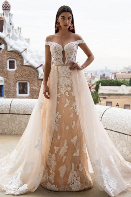 Sexy Off The Shoulder Champagne Wedding Dresses | Detachable Tulle Overskirt Train Lace Bridal Gowns
