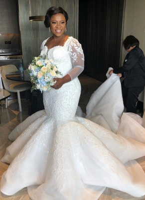 Plus Size Mermaid Lace Wedding Dresses | 2020 Sexy Wedding Dress with Sleeves_1