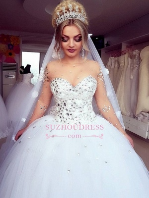 Brilliant Ball-Gown Wedding Dresses   Crystals Jewel Long-Sleeves Bridal Gowns_2
