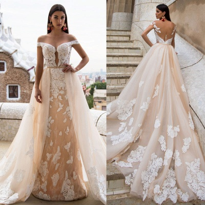 Sexy Off The Shoulder Champagne Wedding Dresses | Detachable Tulle Overskirt Train Lace Bridal Gowns_3