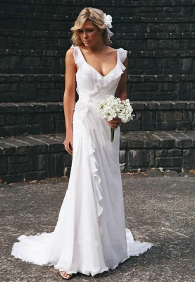 2020 Elegant V-neck Chiffon Wedding Dress Summer Beach Ruffles Sleeveless Bridal Dresses_1