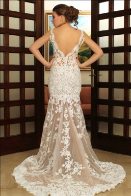 Deep V-Neck Wedding Dresses Over Skirt Shher Tulle Lace Appliques Wedding Dress_4