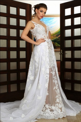 Deep V-Neck Wedding Dresses Over Skirt Shher Tulle Lace Appliques Wedding Dress_3