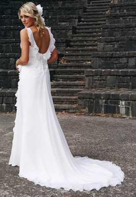 2020 Elegant V-neck Chiffon Wedding Dress Summer Beach Ruffles Sleeveless Bridal Dresses_3