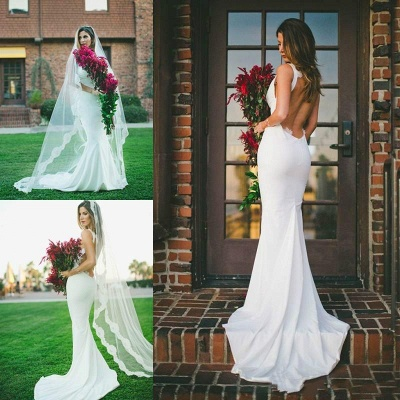 2020 Sexy Mermaid Wedding Dress Outdoors Backless Sleeveless Summer Bridal Gowns Cheap_4