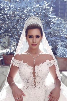 Fairy Off-the-Shoulder Lace Wedding Dress Ball Gown Princess Bridal Gowns On Sale