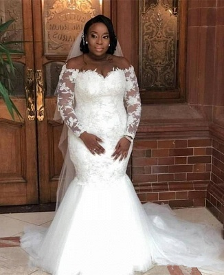 Plus Size Mermaid Appliques Wedding Dresses | Off The Shoulder Long Sleeve Bridal Gowns_2