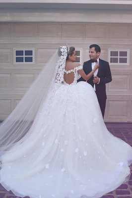 Fairy Off-the-Shoulder Lace Wedding Dress Ball Gown Princess Bridal Gowns On Sale_4