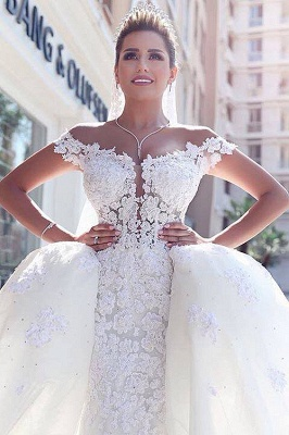 Fairy Off-the-Shoulder Lace Wedding Dress Ball Gown Princess Bridal Gowns On Sale_5