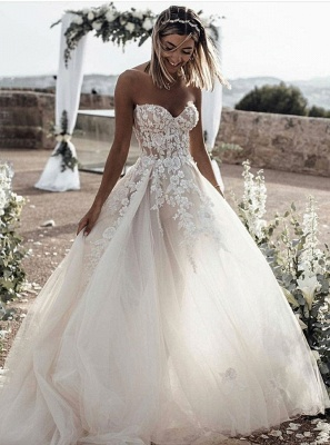 Fairy Sweetheart Beach Wedding Dress With Lace Appliques Online