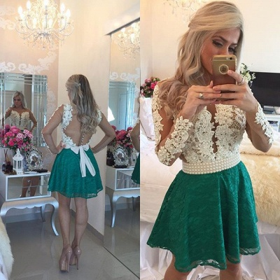 White Appliques Top Green Lace Skirt 2020 Homecoming Dresses Long Sleeve Beaded Evening Gown BA3568_3