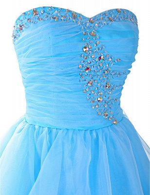 Blue Ruffles Sweetheart Short Homeocming Dresses with Beadings Cute Organza Lace-Up Cocktail Dress_3