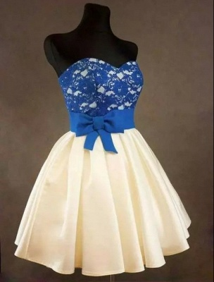 Sweetheart Royal Blue Lace Cheap Homecoming Dress with bowknot Short Cute Evening Dresses BA3919_1