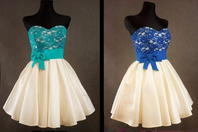 Sweetheart Royal Blue Lace Cheap Homecoming Dress with bowknot Short Cute Evening Dresses BA3919_2