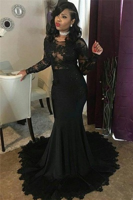 Sexy Black Lace Tulle Prom Dresses | Mermaid Long Sleeve Cheap Evening Gown 2020 FB0277_4