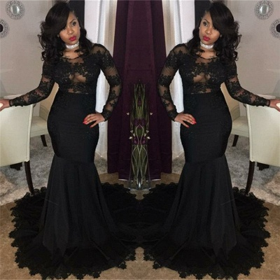 Sexy Black Lace Tulle Prom Dresses | Mermaid Long Sleeve Cheap Evening Gown 2020 FB0277_3