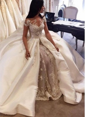 Gorgeous Short Sleeve Lace Wedding Dresses Custom Made 2020 Bridal Gowns with Long Train BA5502_3