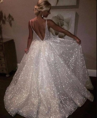 Bling Open Back Sleeveless Prom Dresses 2020   A-Line Shiny Evening Gowns_1
