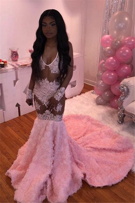Pink Flowers V-neck Sexy Prom Dresses   Sheer Tulle Appliques Mermaid Evening Gowns_1