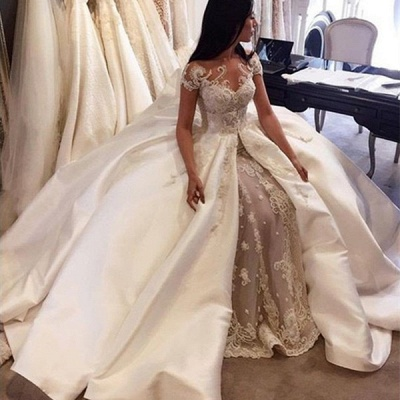 Gorgeous Short Sleeve Lace Wedding Dresses Custom Made 2020 Bridal Gowns with Long Train BA5502_2