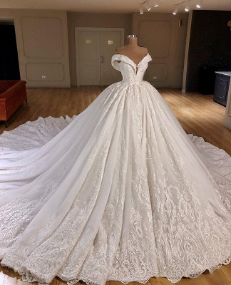 Gorgeous Off Shoulder Ball Gown Wedding Dresses 2020 | Puffy Lace Wedding Dress Online_3