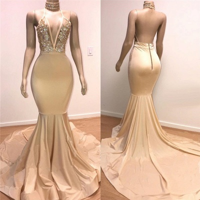 Cheap Backless Champagne Prom Dresses | Crystals Appliques Mermaid Sexy Formal Evening Gowns_2