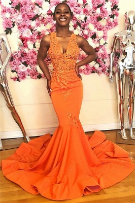 Mermaid Beads Appliques Orange Prom Dresses   Sleeveless V-neck Sexy Evening Gowns with Court Train_1