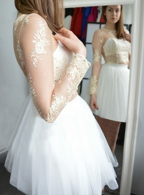 Glamorous Short Long Sleeves Homecoming Dresses | Champagne Appliques A-Line Hoco Dress_3
