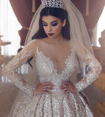 Sparkling Beads Crystal V-neck Ball Gown Wedding Dresses | Backless Sheer Tulle Long Sleeve Bridal Gowns_3