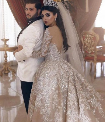 Sparkling Beads Crystal V-neck Ball Gown Wedding Dresses | Backless Sheer Tulle Long Sleeve Bridal Gowns_2