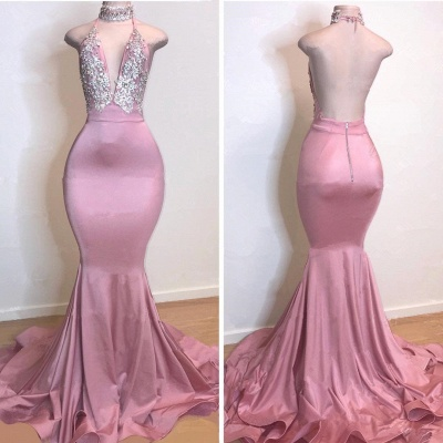Cheap Open Back Pink Long Prom Dresses | Silver Crystals Appliques Mermaid Sexy Evening Gowns_2