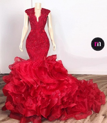 Glamorous Beads Appliques Red Prom Dresses | Ruffles Mermaid Sexy Evening Gowns_2